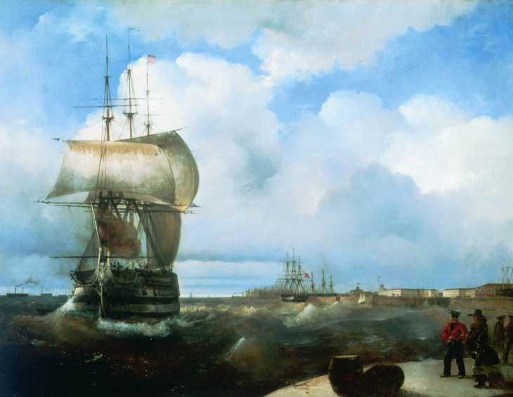 """Картина """"Большой рейд в Кронштадте"""", 1836 год"""