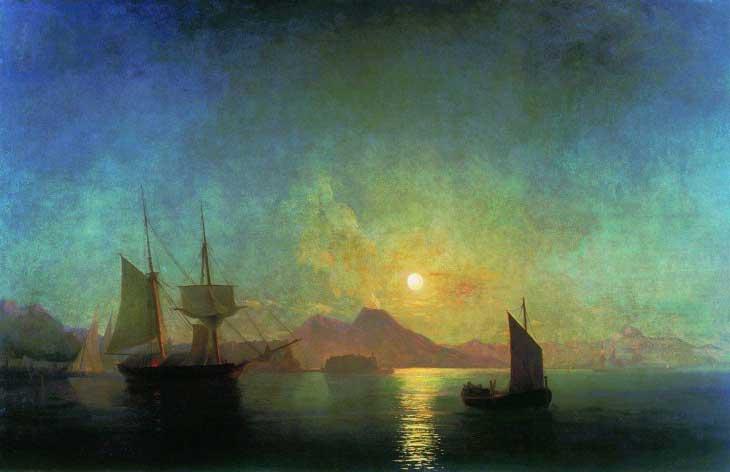 """Картина """"Вид на Везувий ночью"""", 1842 год"""