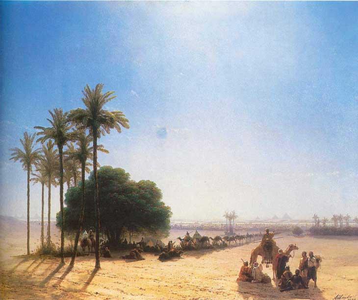 """Картина """"Караван в оазисе"""", Египет 1871 год"""