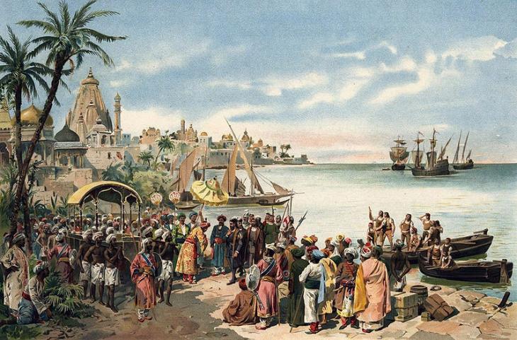 Корабли Васко да Гамы у берегов Индии