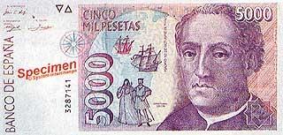 Испанская банкнота с изображением Колумба