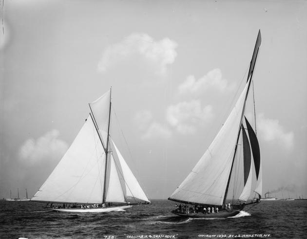 Кубок Америки 1899 года. Яхты Columbia и Shamrock I. Первая попытка ирландцев завоевать трофей.