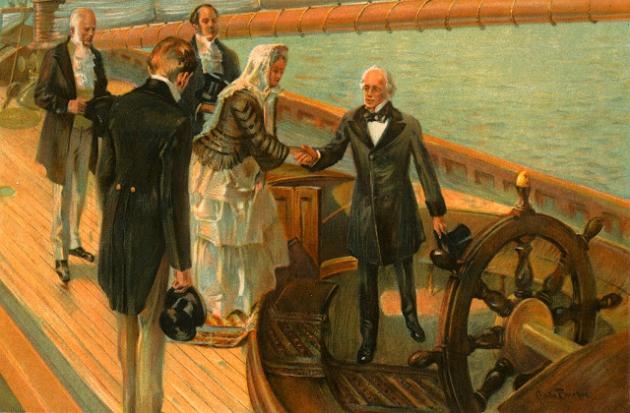 """Королева Виктория на борту шхуны """"America""""  поздравляет победителей."""