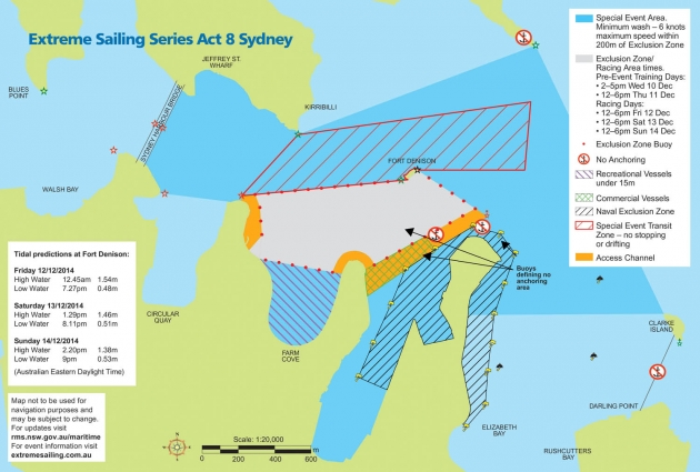 Карта сиднейского этапа Extreme Sailing Series.