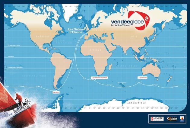 Маршрут одиночной регаты Vendee Globe.