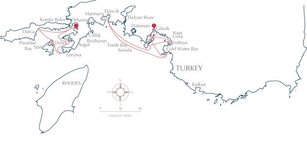 Гёчек находится совсем рядом с Мармарисом и Родосом - местами проведения других крупных средиземноморских регат.