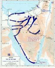 Карта боевых действий во время Шестидневной войны