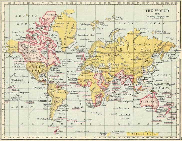 Британская Империя в начале 20 века. Британские территории обозначены красным