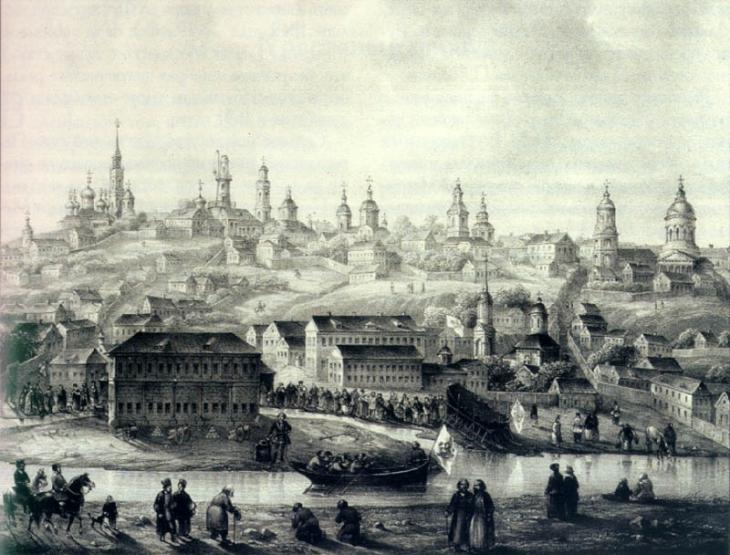 Воронеж 17 века, на переднем плане цейхауз Петра