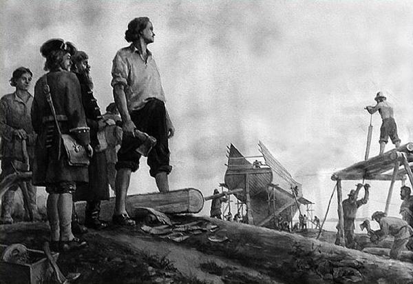Петр на строительстве кораблей Потешной флотилии
