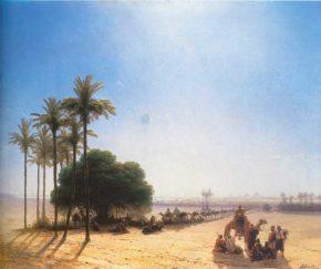 Картина Караван в оазисе, Египет 1871 год