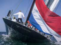 "Флаг Нидерландов на корме J-class ""Rainbow""."