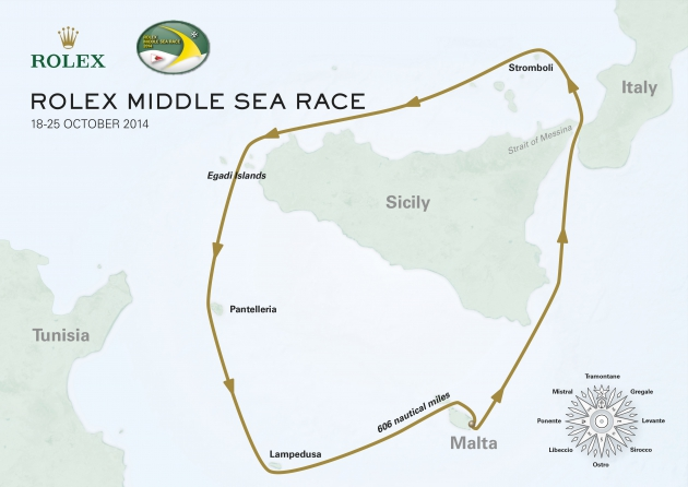 Маршрут Rolex Middle Sea Race.