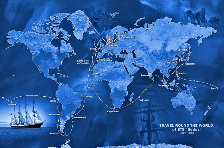Маршрут кругосветки парусного корабля Седов