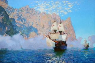 Картина корабля Золотая Лань