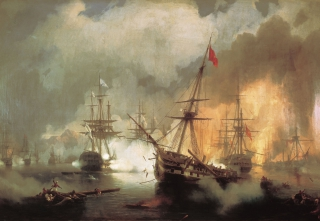 Наваринское сражение, картина Айвазовского