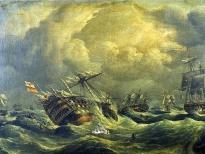 Корабль Santisima Trinidad в Трафальгарском сражении
