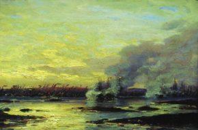 Гангутская баталия. Еще одна картина из цикла художника Боголюбова.