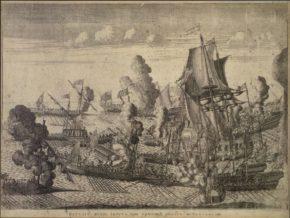 Баталия при Гангуте, гравюра А. Зубова, 1715 г.