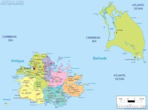 Карта Антигуа. На юге та самая гавань English Harbor.