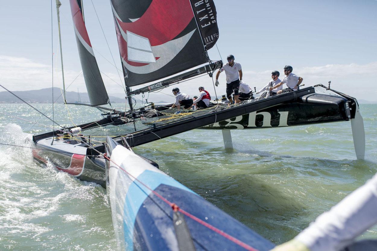 Метровое расстояние между соперниками привычно для Extreme Sailing Series.
