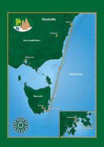 Карта регаты Rolex Sydney to Hobart Race.