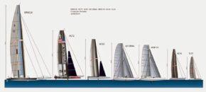 Сравнение размеров гоночных катамаранов. Присутствует вся линейка АС