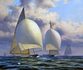 Парусные яхты Ranger и Endevour II - эта дуэль не давала покоя многим художникам