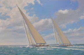 Тренировочная гонка между яхтами Ranger и Rainbow