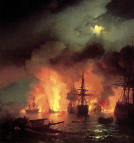 Картина Айвазовского Чесменский бой, 1848 год