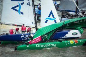 Авария во время гонок Extreme Sailing Series, катамараны Extreme 40