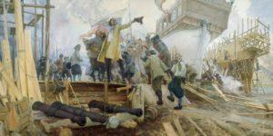 Фото постройки кораблей Петром I