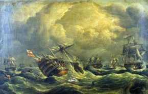 Картина корабля Santisima Trinidad в Трафальгарском сражении