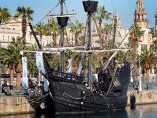 Копия знаменитого корабля Магеллана пришвартовалась в порту Барселоны